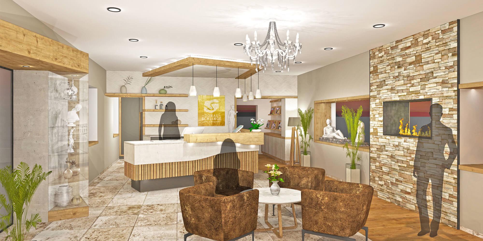 Crea-Plan-Design-Rauch-Frühmann-Architektur-Innenarchitektur-Design-Projekt-Referenz-Hotelerie-Gastronomie-Hotel-Donauschlinge-Rezeption-Visualisierug-1